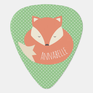 Personalised Cute Sleeping Fox Guitar Pick