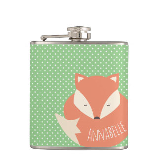 Personalised Cute Sleeping Fox Hip Flask