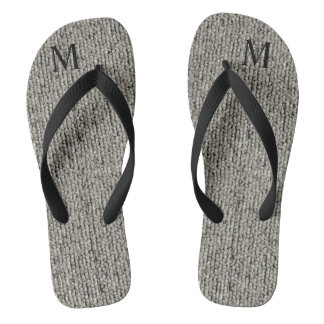 Personalised Cute Wool Gray Fabric Textured Flip Flops