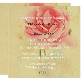 Personalised delicate rose wedding invitation