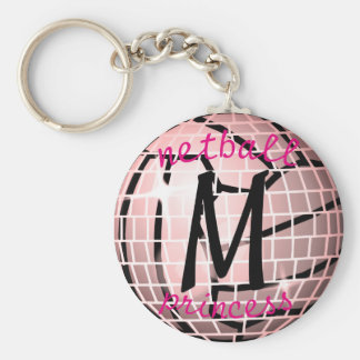 Personalised Disco Ball Design Netball Theme Keychain