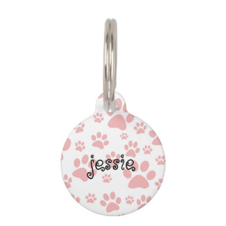 Personalised Dog Tag with Paw Print Design