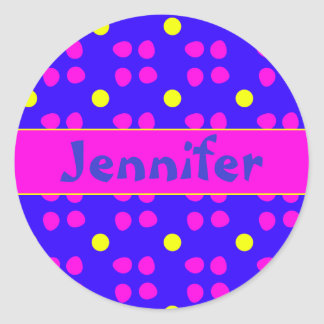 Personalised dotting pattern classic round sticker