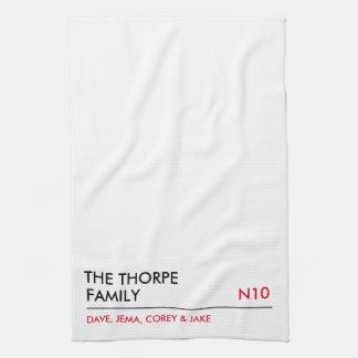 Personalised family tea towel