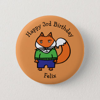 Personalised Felix the Fox Happy Birthday 2 Inch Round Button