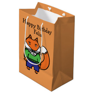Personalised Felix the Fox Happy Birthday Medium Gift Bag