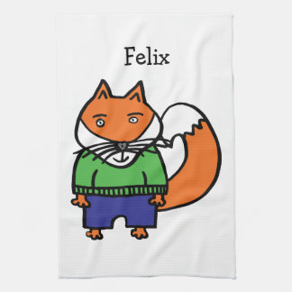 Personalised Felix the Fox Kitchen Towel
