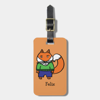 Personalised Felix the Fox Luggage Tag