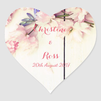 Personalised Floral Heart Wedding Sticker
