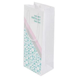 Personalised Geometric Teal & Pink Wine Gift Bag