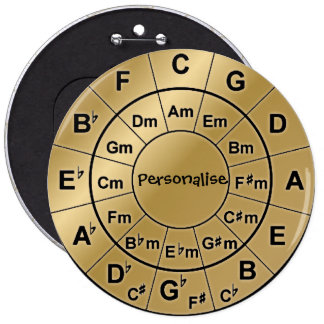 Personalised Gold Badge Music Lovers Chord Wheel 6 Inch Round Button