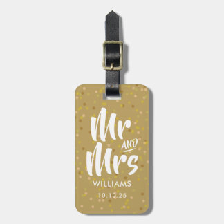 Personalised Gold Dust Confetti Mr and Mrs Luggage Tag