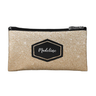 Personalised gold glitter cosmetics case