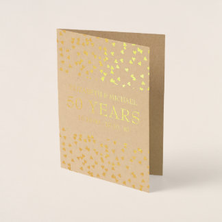 Personalised Golden Hearts 50th Anniversary Foil Card