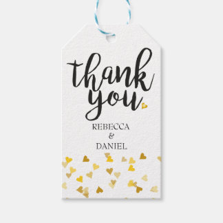 Personalised Golden Hearts Confetti Thank You Pack Of Gift Tags