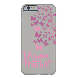 Personalised Grey and pink butterfly Barely There iPhone 6 Case