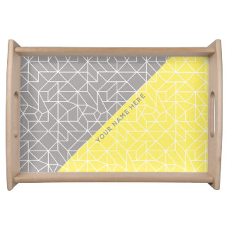Personalised Grey & Yellow Geometric Serving Tray