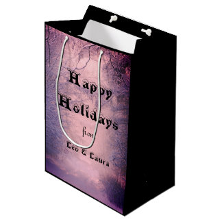 Personalised Happy Holidays snowscene Medium Gift Bag