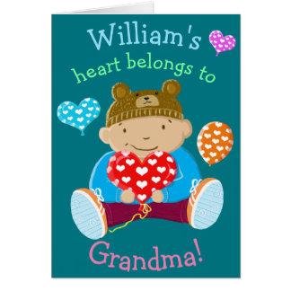 Personalised Heart Belongs To Grandma Greeting Card