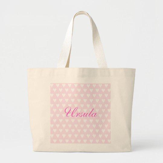 Personalised initial U girls name hearts custom Large Tote Bag