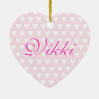 Personalised initial V girls name hearts ornament
