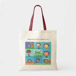 Personalised jungle animals library tote bag
