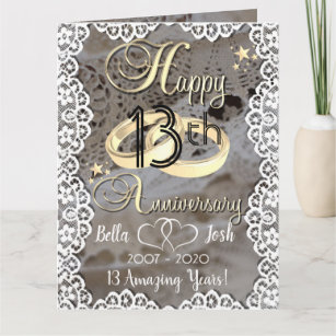 Personalised Lace Theme 13th Wedding Anniversary Card
