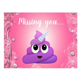 Personalised Magical Unicorn Poop Emoji Postcard