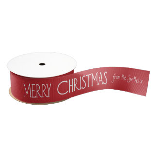 Personalised Merry Christmas Ribbon, White Text Grosgrain Ribbon
