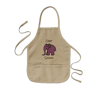 Personalised Mini Chef's Purple Cartoon Elephant Kids Apron