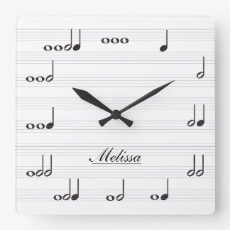 Personalised Music Notes Square Wall Clock