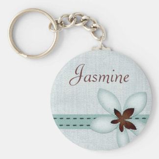 Personalised Name Keyring - Blue ribbon and flower Basic Round Button Keychain