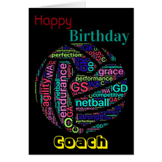 Personalised Netball Coach Birthday Card