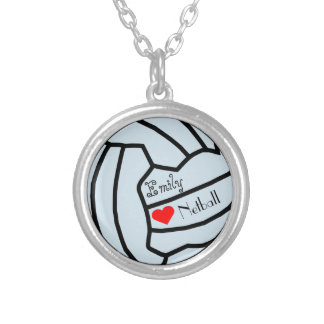 Personalised Netball Themed Ball Design Silver Plated Necklace