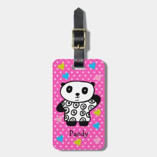Personalised Pandy the Panda Polka Dot Hearts Luggage Tag