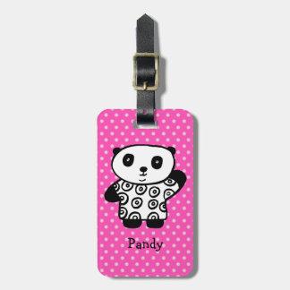 Personalised Pandy the Panda Polka Dot Luggage Tag