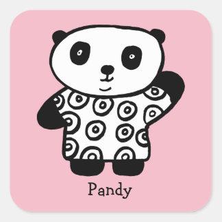 Personalised Pandy the Panda Square Sticker