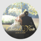 Personalised Photo Gold Confetti Script Thank You Classic Round Sticker