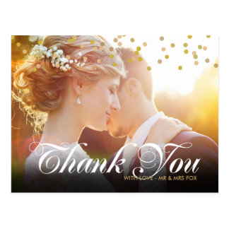 Personalised Photo Gold Confetti Script Thank You Postcard