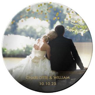 Personalised Photo Gold Confetti Wedding Plate