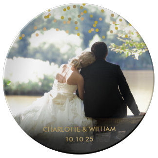 Personalised Photo Gold Confetti Wedding Porcelain Plates
