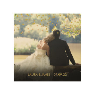 Personalised Photo Gold Confetti Wood Print