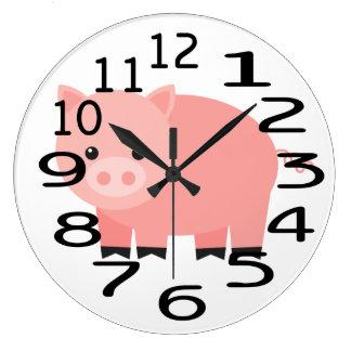Personalised Pink Baby Pig  Wall Clock