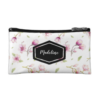 Personalised pink floral watercolor cosmetics case