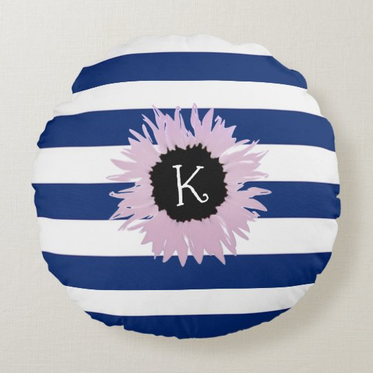 Personalised Pink Flower Round Pillow