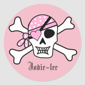 Personalised Pink Pirate Classic Round Sticker
