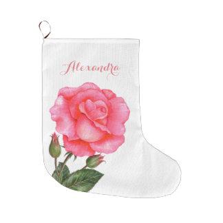 Personalised Pink Rose Chrismas Stocking