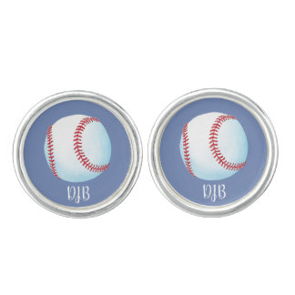 "Personalised ""Pitch Perfect Baseball"" (blue grey) Cuff Links"
