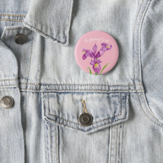 Personalised Purple Iris Botanical Floral Badge 2 Inch Round Button