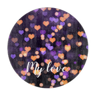 Personalised purple love hearts cutting board
